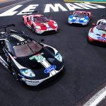 Fyra unika Ford GT ställer upp på startlinjen vid årets Le Mans